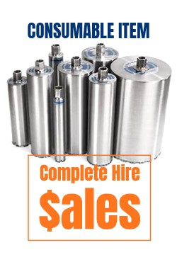 Diamond core bits 25mm-50mm-65mm-75mm-77mm-90mm-102mm-125mm - for sale Complete Hire Sydney